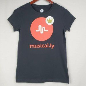 Musical.ly Tshirt Black Red Gold Crown Graphic Top